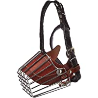 Munchos Iron Cage Style Dog Basket Wire Muzzle with Adjustable Leather Strap (Small)