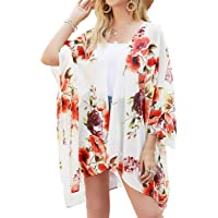 Cardigan Donna in Chiffon - Donna Chiffon Floral Kimono Estivo,Cardigan Kimono Mare Copricostume Casual Cover Up per…
