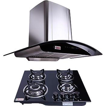Seavy Kitchen Chimney Combo with Hob, 90cm 1200M3/hr Suction Chimney + 4 Burner Auto Ignition Hob (Zeroun 90)