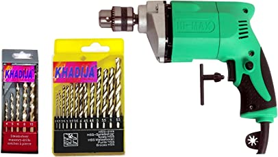 KHADIJA HI MAX Combo of Simple Electric Drill Machine with 13-Piece HSS Drill Bits and 5-Piece Masonry Bit Set (NVkhadijaDrill)