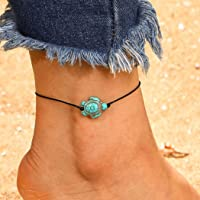 Ushiny Boho Tartaruga Cavigliera Corda nera Braccialetto alla caviglia Summer Beach Weave Cavigliere Moda Catena del…