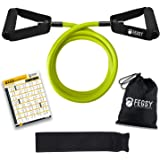 FEGSY Resistance Tube Exercise Bands for Workout, and Stretching for Men and Women with Door Anchor
