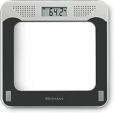 Medisana 40448 PS 425 sprechende digitale Personenwaage, Körperwaage aus Glas, Gewichtswaage zur Ermittlung des Körpergewichts bis 180 kg