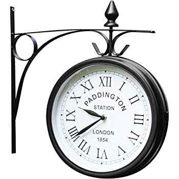 Outdoor Garden Kensington Station Outside Bracket Wall Clock 25cm Double Sided Amazon