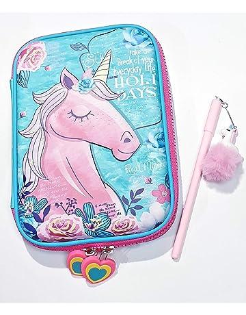 U Life Pencil Bag Pouch Case Pen Holder Box Zipper School Boys Girls Kids Vintage Cute Unicorn Polka Dots Office Products