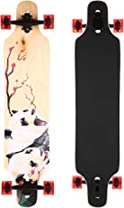 mymotto Longboard Anfänger Cruiser Skateboard Kompletteboard Jungen und Mädchen Drop Down Street Ahorn Holz, 103 x 22 cm