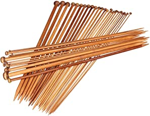 ULTNICE 18 Pairs Bamboo Knitting Needles Single Point Knitting Needles 2.0mm-10mm