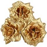 Winomo 50 stuks rozen van zijde, kunstbloemkoppen decoratie voor bruiloft huis (goud)