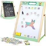 Pizarra Infantil Magnética Juguetes Montessori Puzzle de Madera Caballete Doble Cara con Pizarra Blanca Letras y Numeros Puzz
