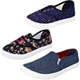 Axter Women's Multi-Coloured Canvas Casual Shoes/Sneakes/Moccasins - Pack of 3 (Combo-(3)-763-611-619)