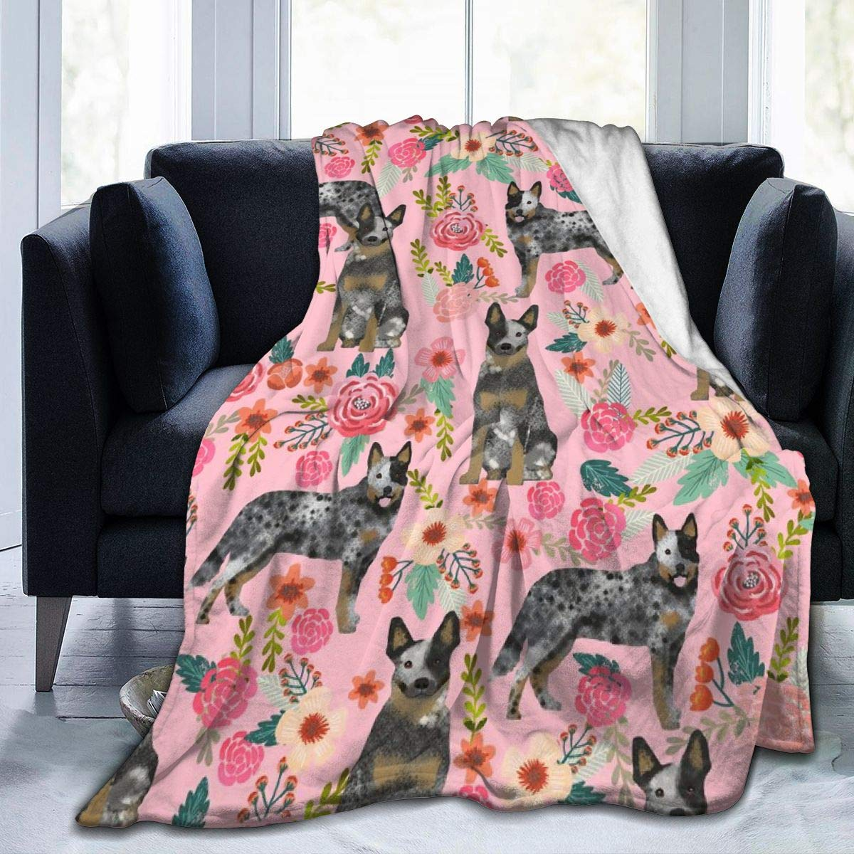 Beauty-Design Australian Cattle Dog Florals Pink Fleece Blanket Soft Warm Throws Blankets for Sofa Home Bed Car Travel Office – Blanket Bedspread 60 x 50Inch