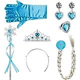 Lictin Corona Principessa Bambina Bacchetta Magica - 6 Pezzi Accessori Principessa, Diadema, Guanti, Bacchetta Magica,la Trec