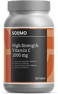 Marchio Amazon- Solimo Integratore alimentare di vitamina C extra forte1000 mg con bioflavonoidi da agrumi, 180 compresse