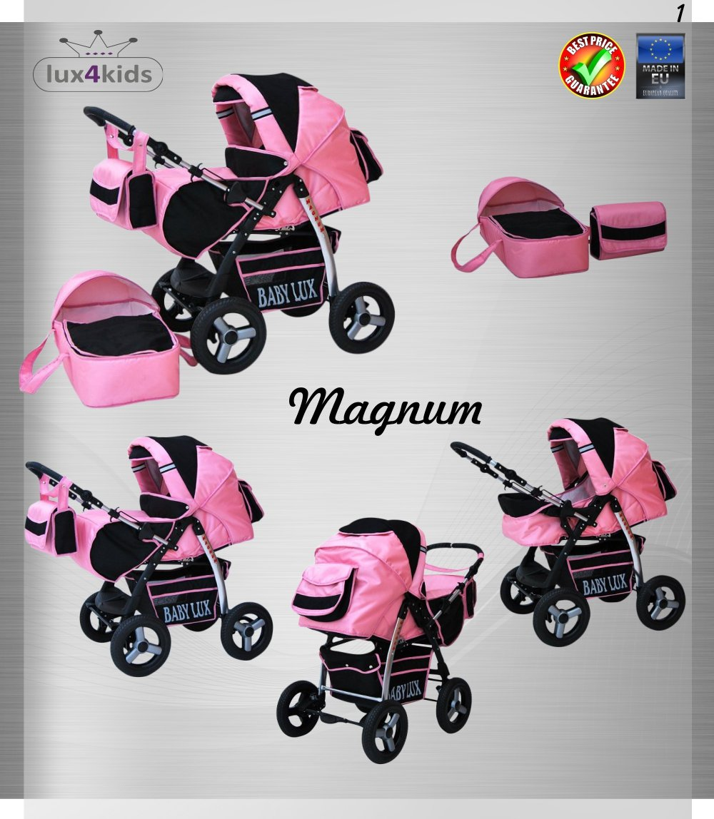 Lux4Kids Magnum Pram & Pushchair (raincover, mosquito net, cup holder, changing pad) 66 Beige & Diamonds  Buggy accessories - Offer all included - 3 free items - More about www.youtube.com/Lux4Kids Solid steel construction, adjustable handlebar height, hood / hood adjustable, buggy converts to pram. Made in EU (DIN EN1888 / 2005) 2