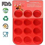 Philonext Pan, Moule en Silicone avec 12 Empreintes pour Muffins, Rouge, Non-adhérent, Passe au Lave-Vaisselle, Anti-adhésif, 32,7 x 24,5 x 2,8 cm