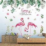 Pdrui Jungle Tropicale et Flamant Stickers Muraux, Bricolage Wall Art Mural Autocollant Mural Décoration pour Salon Chambre C