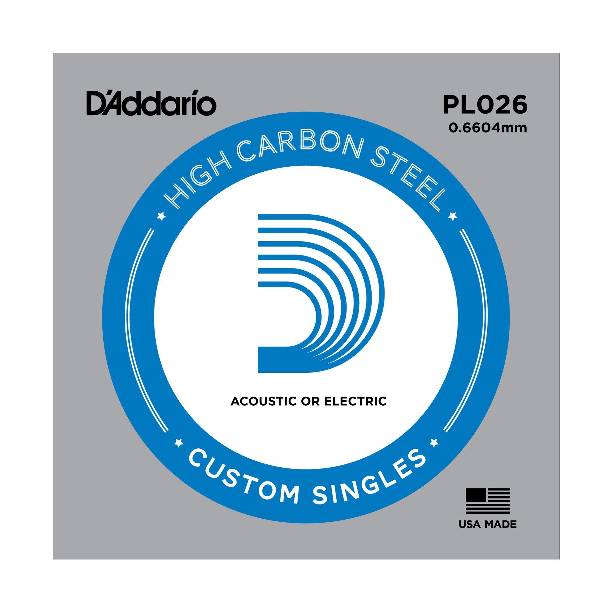 D'Addario PL026 Corda Singola Elettrica-Acustica Plain Steel