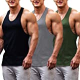 COOFANDY Men's Gym Tops Pack of 3 Cotton Muscle Fit Vests Base Layer Bodybuilding Vests