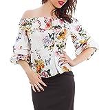Toocool - Blusa de mujer floral de raso con mangas rizadas, elegante top sexy VB-1066