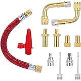 Yizhet Zestaw adapterów do wentyli rowerowych, zestaw adapterów do wentyli stojących, zawiera wszystkie przedłużki SV AV DV P