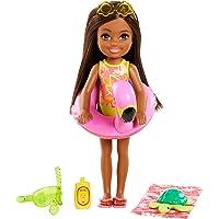 Barbie Famille l'Anniversaire Perdu de Chelsea mini-poupée brune et son animal, bouée et accessoires de plage, jouet…