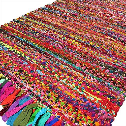 6 Runde Bereich Teppich (Eyes of India - 4 to 6 ft Rund Bunt Gewebt Chindi Geflochten Bereich Dekorativ Fleckerlteppich Indische Böhmisch Boho - Multi, 4 X 6 ft. (120 X 180 cm))