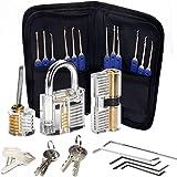 Lock Pick Set, 24 Stuk Lockpicks Transparant Training Hangslot en Credit Card Lock Picking Tools kit, voor Beginner en Sloten