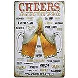 HPiano Muurbord Plaque Poster, Vintage Metalen Tin Muurbord Plaque Poster voor Cafe Bar Pub Bier, Proost rond de wereld Tin t