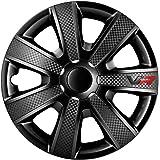 Autostyle PP 5153B Jeu d'enjoliveurs VR 13-inch noir/look-carboné/logo