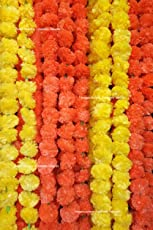Creatively Natural's - Artificial Marigold Fluffy Flowers Garlands for Decoration - Pack of 10 (5 Yellow & 5 Orange)