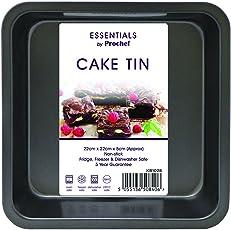 Everyday Baking Kuchenbackform, quadratisch, antihaftbeschichtet, 22.5 cm x 22.5 cm x 5 cm, Schwarz