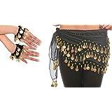 Belly Dance Costume per il ballo del ventre Velo per le anche Cintura con monete finte Cintura in nero NEU/Marchio MyBeautywo