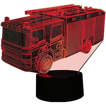 Illusion 3d Pompiers Led Lampes Art Deco Lampe Lumieres Led