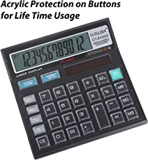 Basic Office Calculator with Large LCD Display and Acrylic Protected on Buttons, 12 Digit Solar, Battery
