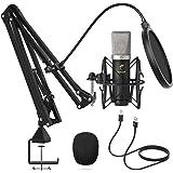 Microphone à Condensateur, TONOR Micro Cardioïde USB avec Taux d'échantillonnage 192kHz/24Bit, Bras, Support Antichoc pour Di