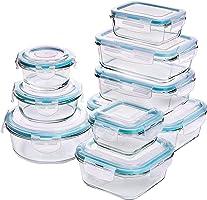 Recipiente - Contenedor de Almacenamiento de Alimentos de Vidrio - 18 piezas (9 envases + 9 tapas) Tapas transparentes -...