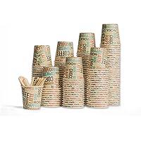 Gobelets à café jetables avec couvercles de qualité supérieure - paquet de 100 - Gobelets à café en papier de 110 ml…