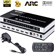 Tobo 4K HDMI Switch with Audio Extractor Optical TOSLINK L/R and IR Remote