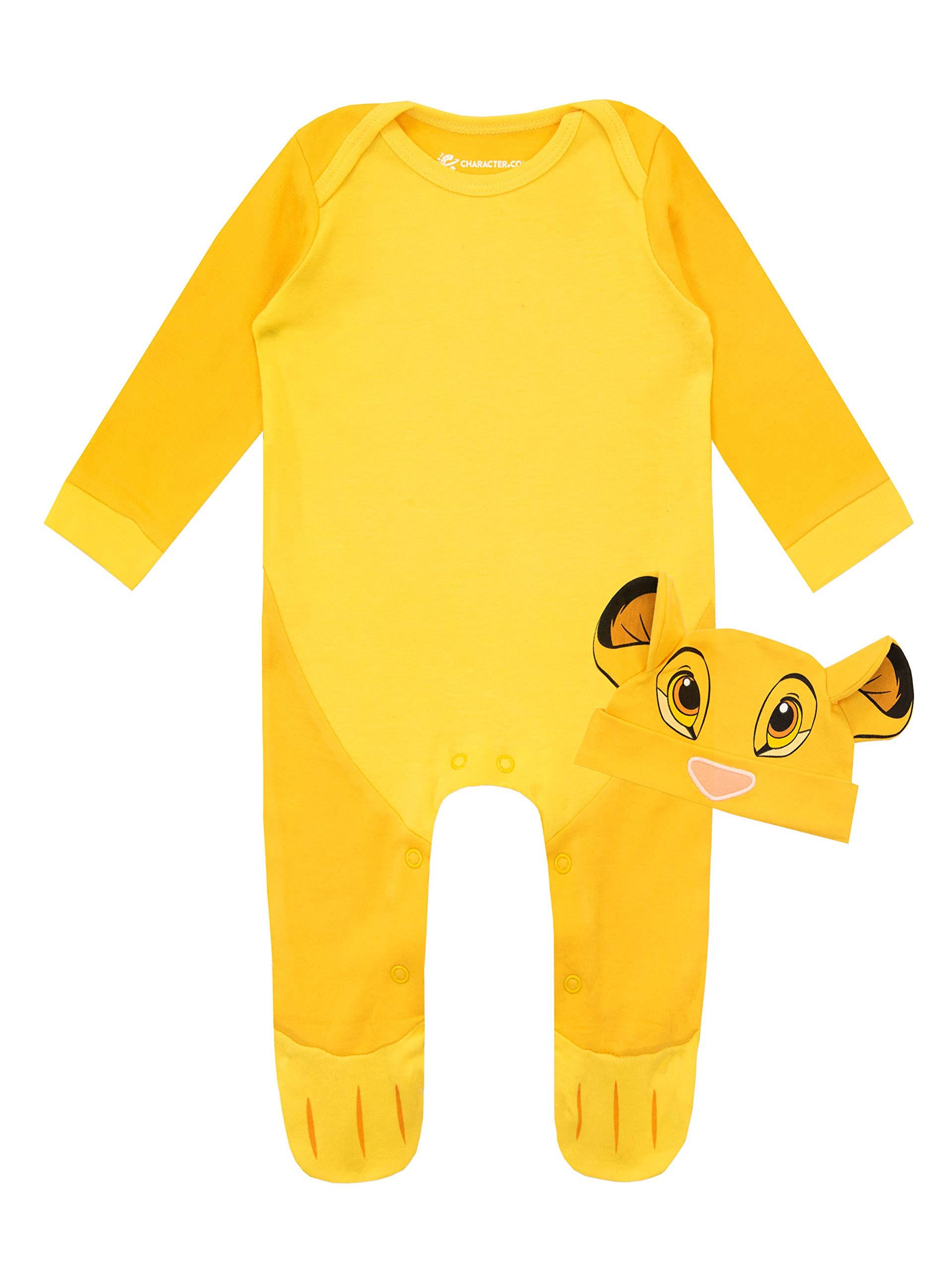 Disney Conjunto de Pijama Entera y Gorro para Niños Bebés El Rey león 1