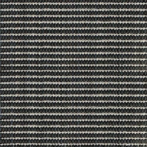 F & S LINETA 160 x 230 cm negro blanco alfombra moderna Flat Weave en aspecto de Sisal para sala de estar, dormitorio, pasillo, oficina, balcón y patio. Para uso INTERIOR y EXTERIOR. Fabricado en EUROPA OCCIDENTAL