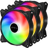 upHere 4-Pin PWM 120mm Colorido-Rainbow LED Ventilador para Caja de Ordenador, Silencioso -Paquete de 3(PF120CF4-3)