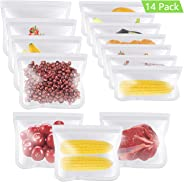 TUPARKA 14 Pack Reusable Storage Bags, Eco-friendly Reusable Grocery Bags Leakproof Freezer Ziplock Lunch Bags for Food, Incl