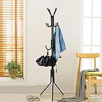 Lukzer 6 Hook Coat Hanger/Clothes Hanger Stand/ 6 Hook Hanging Pole Rack Clothes Hanger Coat Stand Storage (Black / 170…