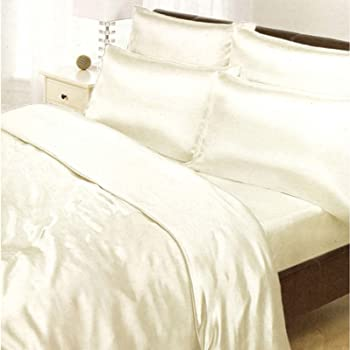 Parure de lit satin creme 6 pcs drap housse de couette 200 x 200 cm cuisine maison - Parure de lit satin de soie ...