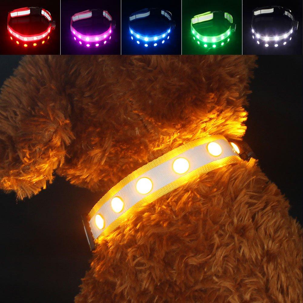 PAWOW Collar de Perro, Collar Perro LED, Collar Mascota, LED de 3 Modos, USB Recargable, Ajustable y Impermeable, Más Visible y Seguro, Tiene un Cable de Carga(Nylon, Amarillo)