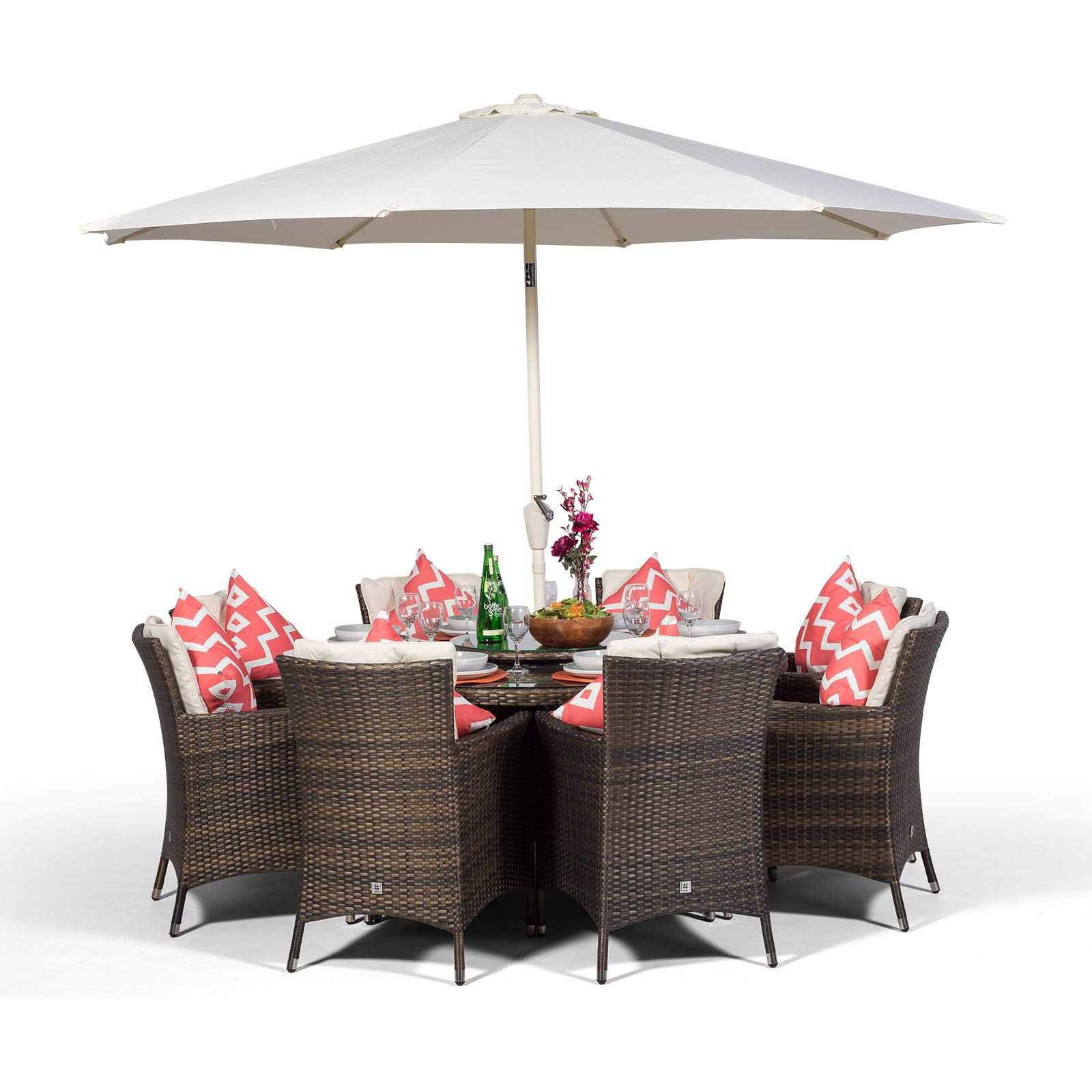 Outstanding Savannah Rattan Dining Set Round 8 Seater Brown Rattan Dining Set Outdoor Poly Rattan Garden Table Chairs Set Patio Conservatory Wicker Garden Onthecornerstone Fun Painted Chair Ideas Images Onthecornerstoneorg
