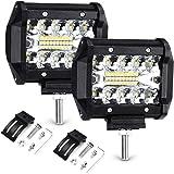 """Focos LED Tractor, Haofy 2 Piezas Faros Trabajo LED, 4"""" 70W Luz de Niebla de Coche, IP68 Impermeable, 7200LM Super Brillante,"""