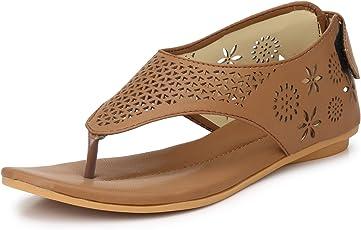 Walktoe Wave Dazzle Lightweight Flats Tan Embellished Sandals for Girls/Womens