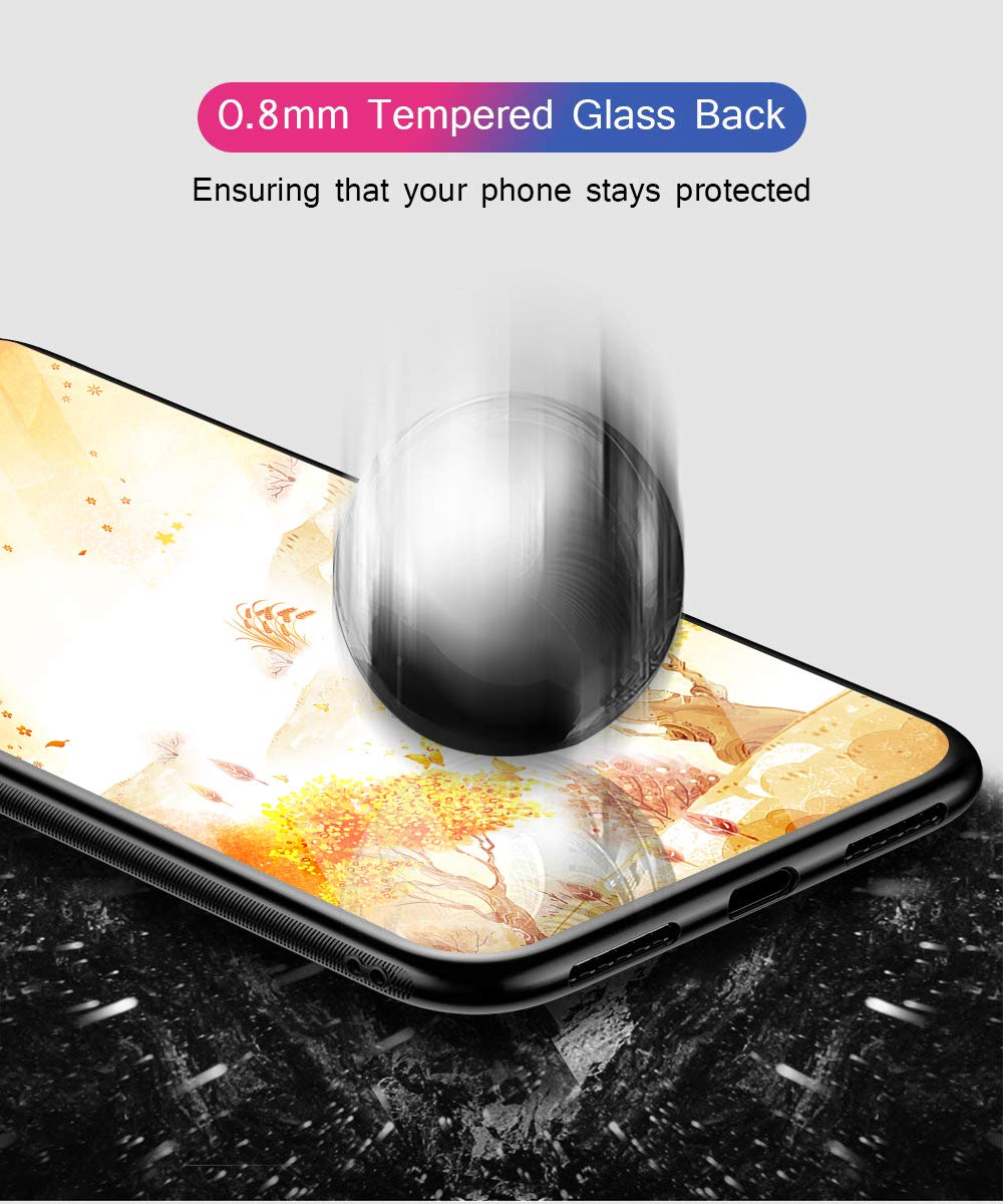 Oihxse Compatible for Xiaomi Mi 8SE Case Glass with Design, Slim Fit Tempered Glass Back Fashion Pattern [Anti-Yellow] [Non-Fade] Cover Shockproof TPU Bumper Skin Shell for Xiaomi Mi 8SE-Yellow3 Oihxse 🍂Slim Fit snugly for Xiaomi Mi 8SE without bulky and loose. 100% compatible with the Qi [Wireless Charging]. Ultra Thin glass back cover will not block [WiFi / GPS / Bluetooth / Signal Reception]. 🍂Stylish autumn series pattern covered with 9H tempered glass to ensure the performance of [Anti-Fade] [Anti-Yellowing], durable for use and adds more sleek look even fashion charming. Suitable for girls, boys, women and men. 🍁Soft TPU bumper with anti-slip design on both sides, compliment with pretty autumn series hard plastic panel plus 9H tempered glass back shell, not only can withstand shocks, impacts, scratches, and bumps, but also provide great in-hand feeling and grip. 3