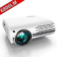 Vidéoprojecteur, YABER 6800 Lumens Video Projecteur Full HD 1080P (1920 x 1080) Retroprojecteur avec Réglage Trapézoïdal 4D, Soutien 4K, Projecteur LED Compatible VGA HDMI AV USB pour Home Cinéma